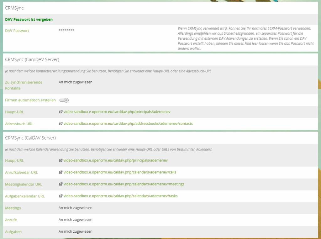 CardDAV, CalDAV-URLs in 1CRM
