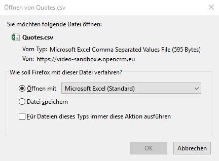 Windows-Dialog: CSV-Datei speichern
