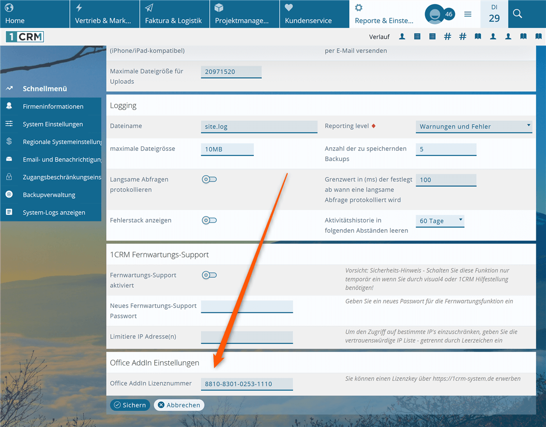 1CRM Outlook AddIn Lizenzkey eintragen