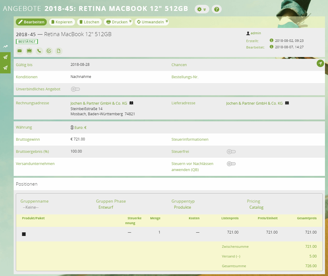 Detailansicht eines Angebots im CRM