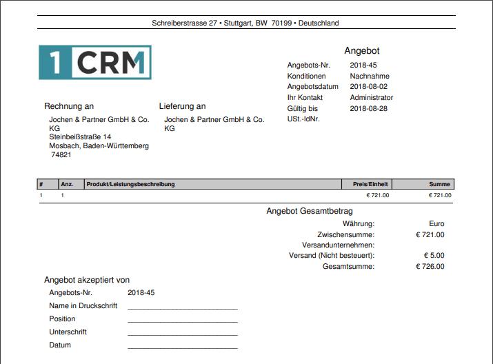 Erzeugte Angebots-PDF im CRM
