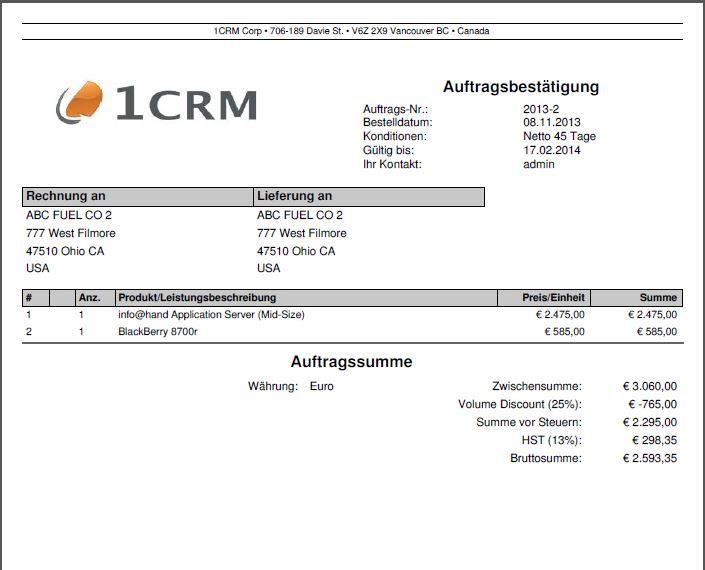 Auftragsbestätigungen als PDF aus dem CRM erzeugen