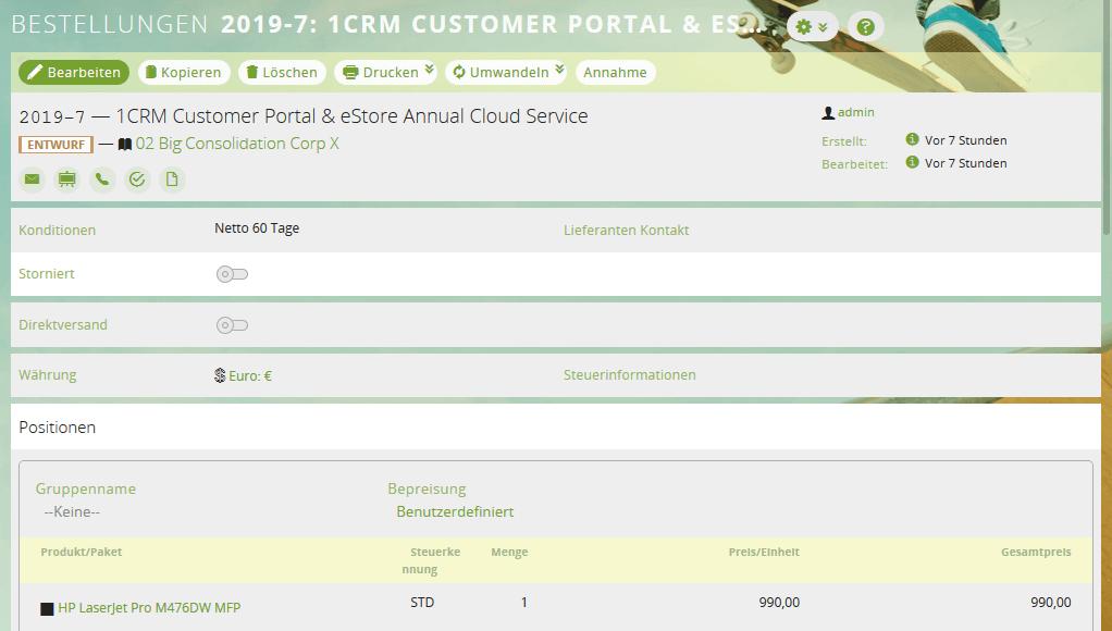 Die Detailansicht einer Bestellung im CRM