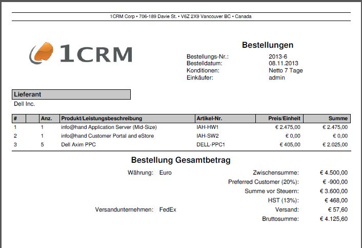 Erzeugte Bestellungs-PDF im CRM