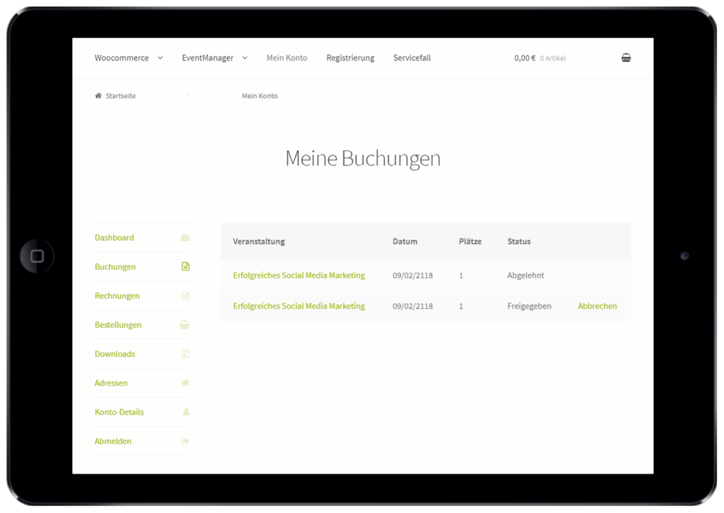 Self-Service-Portal für Events