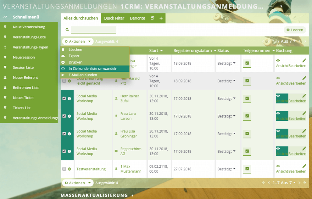 Teilnehmermanagement im CRM-System