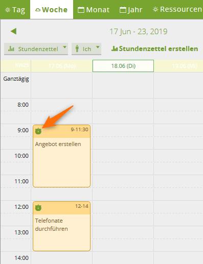 Die Element-Symbole im Kalender des CRM