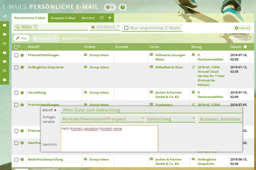 E-Mail-Vorlage in der CRM-Software verwenden
