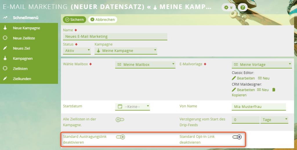 1CRM: Besonderheiten für Austragungslinks beim MailDesigner