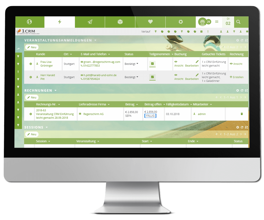 Veranstaltungsanmeldungen im CRM mit dem Eventmanager-Plugin verwalten