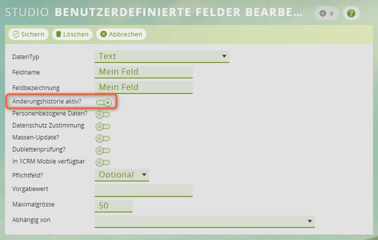 1CRM: Änderungen an benutzerdefinierten Feldern loggen