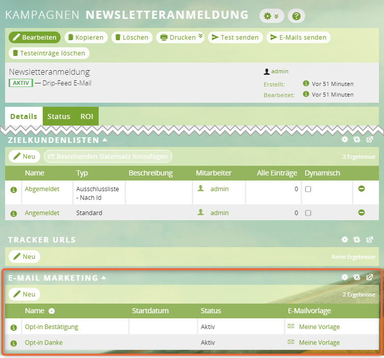 1CRM: E-Mail Marketings in der Kampagne