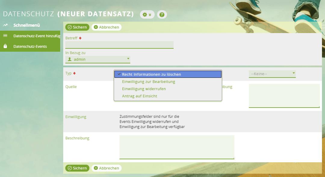 Neues Datenschutz-Event im CRM hinzufügen