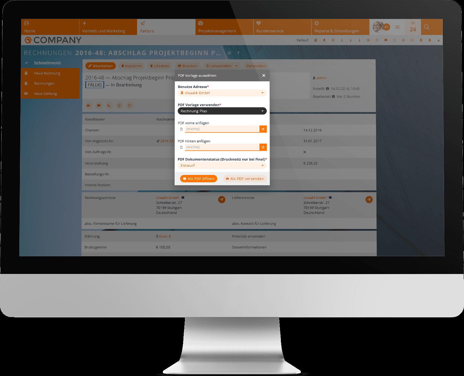 PDF-Plus-Vorlagen im CRM auswählen