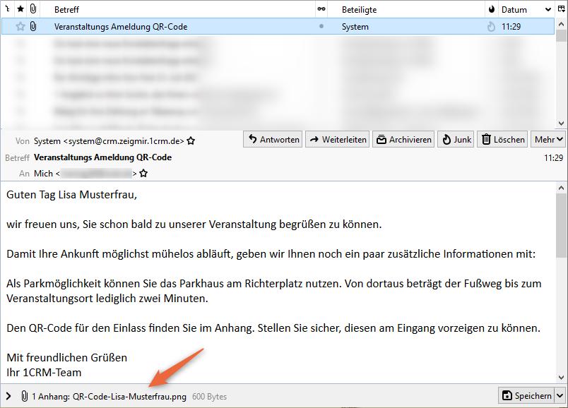 1CRM: E-Mail mit dem QR-Code
