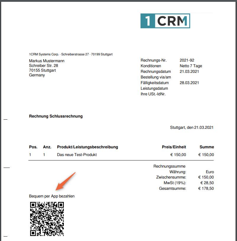1CRM: QR-Code in Rechnung