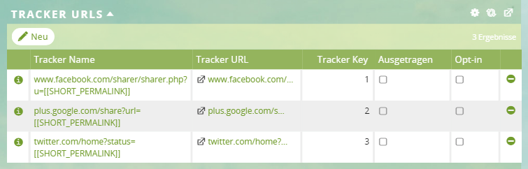 1CRM: Tracker-URLs in der Kampagne