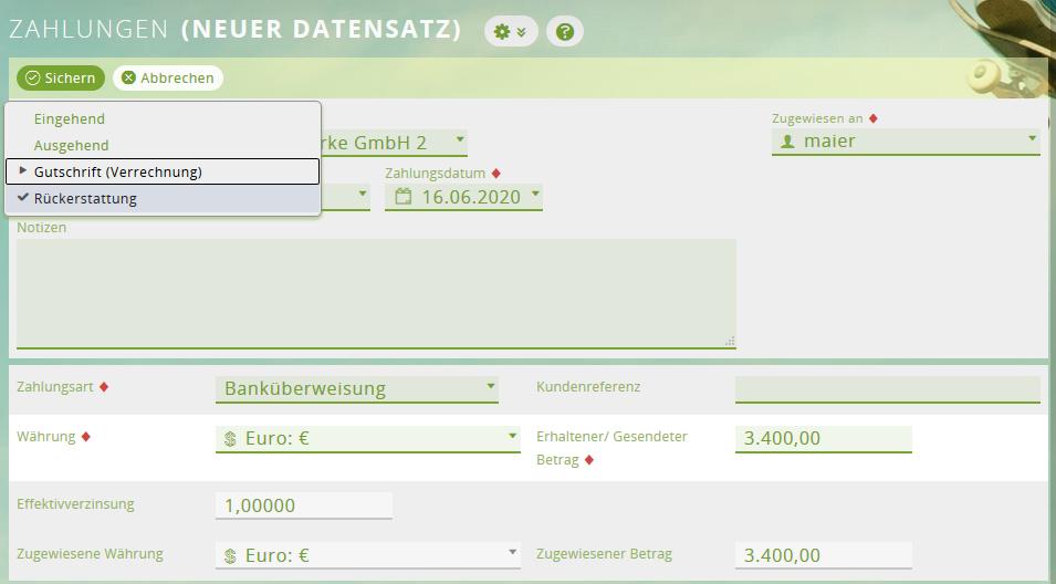 Gutschriften für Rechnungen