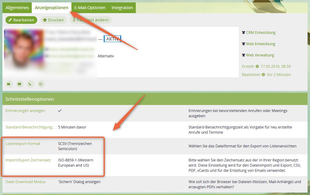 CSV-Format und Import-/Export-Format einstellen