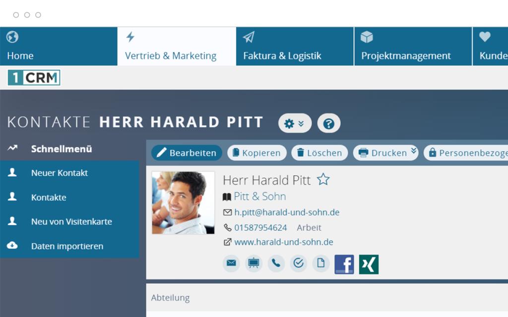 Kontaktprofil in der Kundenverwaltung im CRM