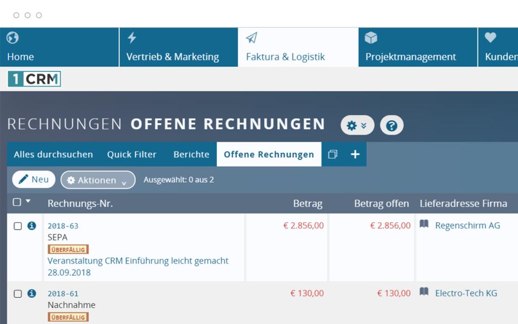 Offene Rechnungen in der Kundenverwaltung