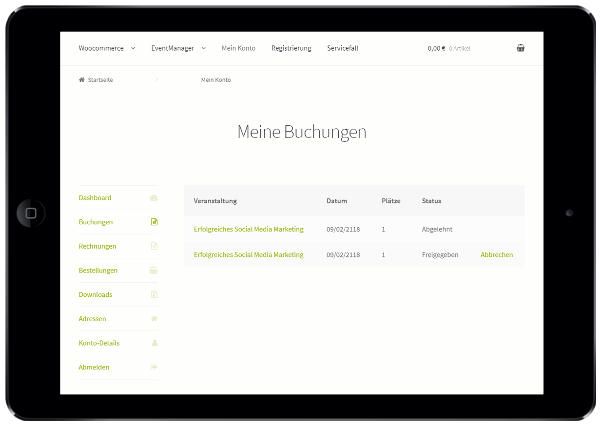 Self-Service mit Online Eventmanagement