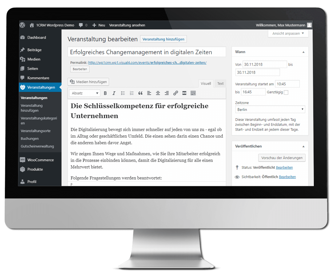 Online Eventmanagement mit WordPress