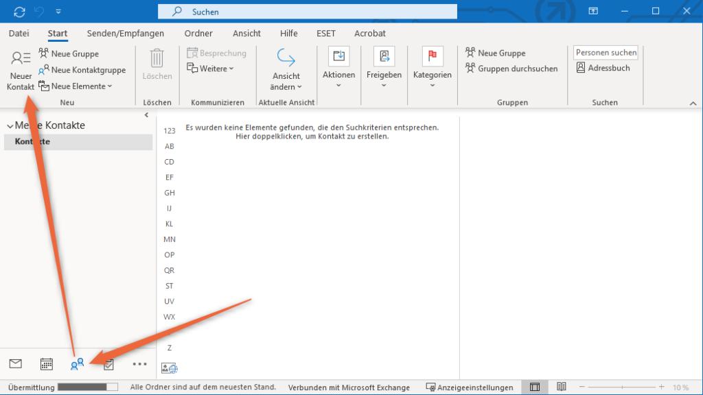 Outlook Kontakte erstellen