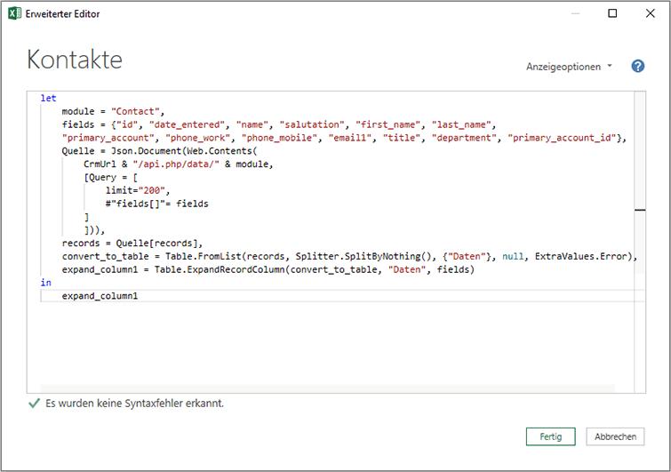 Power Query REST API CRM verbinden